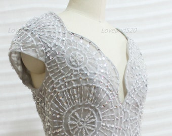 Sequin V-Back chiffon bridesmaid dress,sequin chiffon dress,bridesmaid dress evening dress,chiffon party dress short chiffon dress