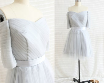 2015 Grey Strapless Bridesmaid Dress,Gray Long Prom Dress,Gray Tulle Formal Dress,Tulle Evening Dress New Arrive