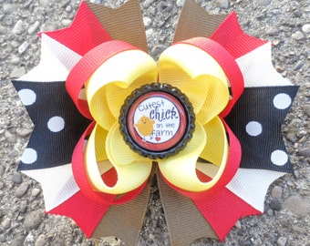 Cute Hair Bows - Farm Birthday Hair Bow - Toddler Hair Bows - Bottle Cap Hair Bow