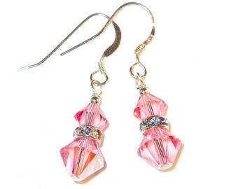 LIGHT ROSE PINK Crystal Earrings Sterling Silver Dangle Swarovski Elements