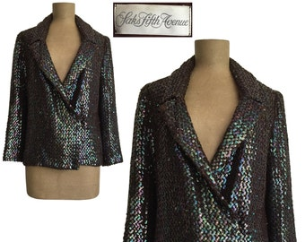 70s 80s Anthony Muto AM/PM SAKS Fifth Avenue sequin jacket - vintage double breasted blazer