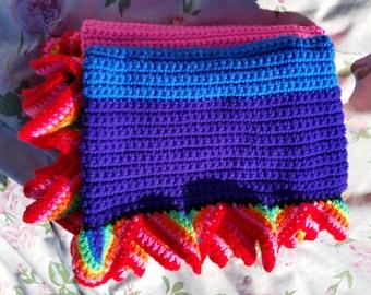 Rainbow Flag, Gay Pride Flag, LGBTQ blanket, Blanket, Afghan, Handmade, Throw, Equality, Wedding Gift, Rainbow baby Blanket