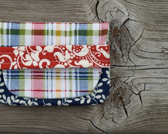 Business Card Wallet - Card Wallet - Gift Card Holder - Mini Wallet - Gift Card Pouch - Plaid - Gift Under 10