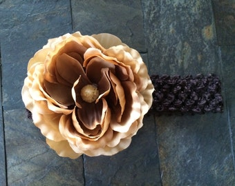 Handmade Beige Brown Peony Faux Silk Flower on a Chocolate Brown Elastic Stretch Lace Headband Baby Girl Women Photo Everyday