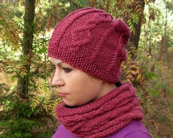 Knitted hat and scarf set, chunky knit cowl, rustic knit hat, knitted snood, knitted cowl, women's knit hat and cowl, raspberry hat scarf