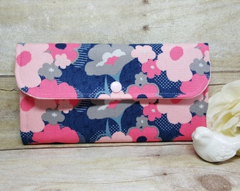 Floral print women's wallet, clutch wallet, handmade fabric wallet, credit card wallet, checkbook wallet, cell phone wallet, travel wallet