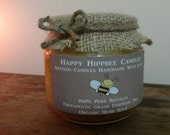 8 OZ Organic Candle Handmade with 100% unbleached beeswax, essential oils & organic hemp wick in a BPA-free jar