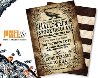 Weathered Halloween Spooktacular - Halloween Invitation - Halloween Party Invitation - Victorian Gothic Halloween - Dressed to Kill - Raven