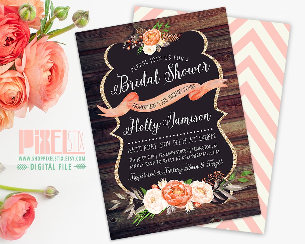 Rustic Bridal Shower Invitation Barn Wood Style Gold Glitter