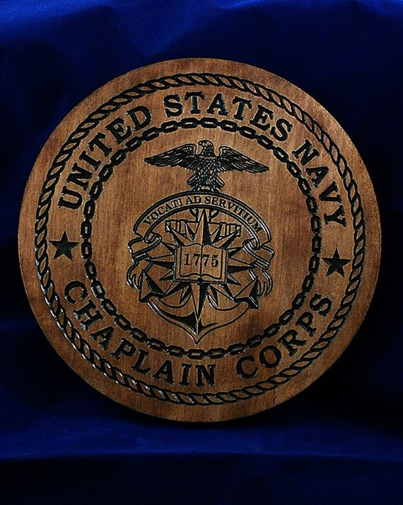 Navy chaplain corps hard maple wood carved inches
