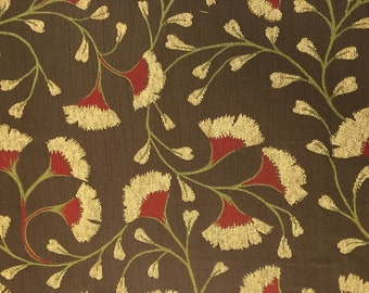 Gingko Soft Brown Red Green Cream Upholstery Fabric By The Yard - Heavyweight Upholstery Fabric - Pillow Cover Fabric - Fabric Shop Online