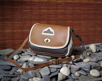 "shoulder bag, tote, ocher leather bull ""Camel"" brown and beige"