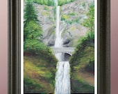 Multnomah Falls Painting Print. Signed Numbered Print From Original Acrylic Waterfall Painting, by Artist Tony Rector. MultnomahFalls Oregon