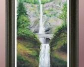 Multnomah Falls Painting Print. Signed Numbered Print From Original Acrylic Waterfall Painting, by Artist Tony Rector. MultnomahFalls Oregon