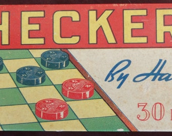 Vintage Wooden Checkers 30 piece Set by Halsam in Original Box, VG Condition