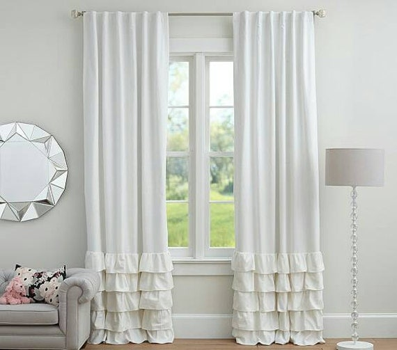 White linen curtains with ruffles by zahrazart on Etsy