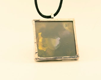 Black, White, Yellow Alchohol Ink Glass Pendant