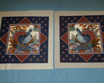CLEARANCE ITEM, Vintage Pheasant pillow panels