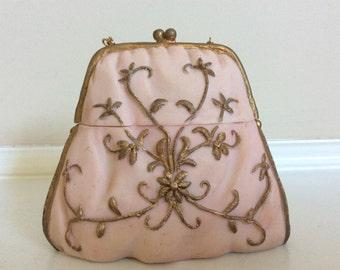 Dezine Handpainted Pink & Gold Lidded Purse Shaped Trinket Box.