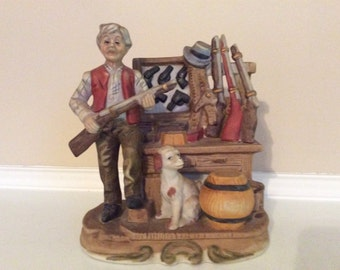 A Hunter  and his Dog with Rifles and Handguns Figurine, Capodimonte Like!