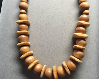 Vintage Wooden Hand-beaded Necklace
