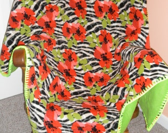 Handmade Floral Zebra Fleece Blanket