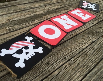 Pirate Party High Chair Banner - One Pirate Banner, First Birthday, Photo Prop, Birthday Party, Under The Sea