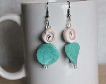 Teal shell earrings