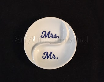 Mr. and Mrs. Ring Dish, Couples Ring Dish, Ring Dish, Jewelry Dish, Trinket Dish, Wedding Dish, Married, Wedding Gift, Couples Gift