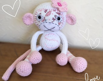 Girl monkey, Crochet Monkey, Monkey amigurumi, Plush monkey, monkey gift, crochet monkey, stuffed toy monkey