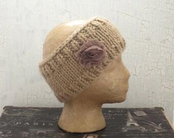 Ear Warmer, Chunky Headband, Knit Ear Warmer, Knit Head Wrap, Winter Ear Warmer, Taupe Chunky Headband, Wide Headband, Taupe Headband