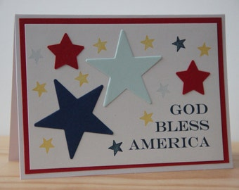 God Bless America Card. Patriotic Card. 4th of July Card. Veteran's Day Card. Memorial Day Card. Handmade Card. Religious America Card