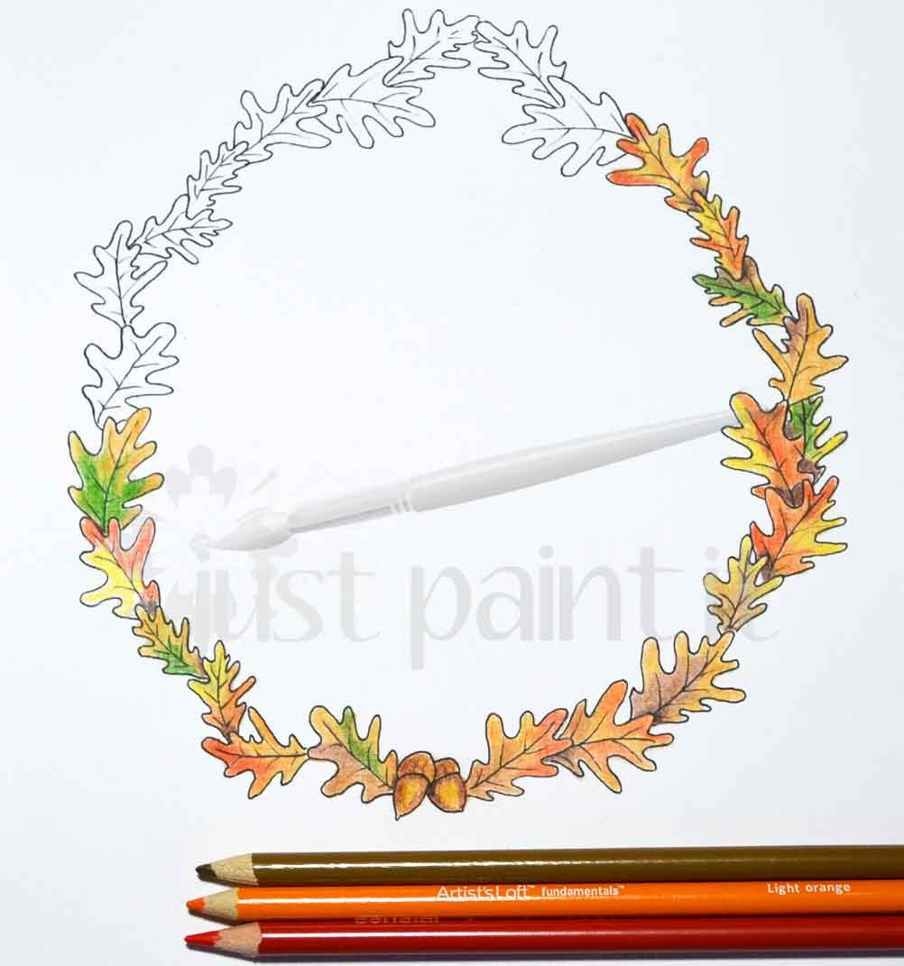 fall oak leaf wreath coloring page fall coloring page instant