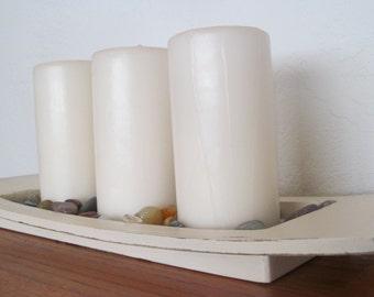 Creamy Off White Distressed Centerpiece Tray
