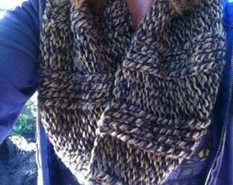 Nordic Chunky Purple and Yellow Snood, Cowl, Scarf