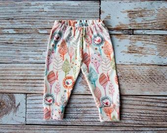 organic baby leggings, baby pants, baby leggins, toddler pants, organic toddler leggings, snail leggings, birds, leaves, trees, pink