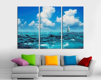 3 Panel Canvas Split, Sailing boat on Blue sea with clouds, Photo Print on Canvas, canvas art, Interior design, Room Decoration, Photo gift