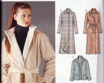 New Look 6221 Fall Winter Ladies Coat Jacket Sizes 8-18 Factory Folded Uncut