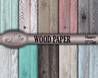 Distressed wood digital paper Grain texture Teal rustic cottage chic background