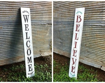 Reversible Front Porch Sign // Double Sided Wood Art // Welcome & Believe // Seasonal Decor