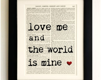 FRAMED ART PRINT on old antique book page - Love Quote, Vintage Wall Art Print Encyclopaedia Dictionary