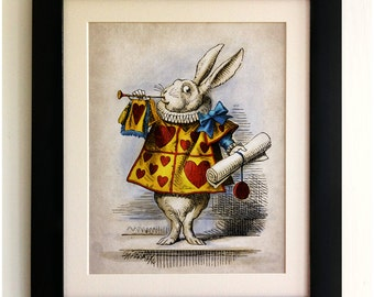 FRAMED Alice in Wonderland Print - White Rabbit with Trumpet, Vintage Style, Shabby Chic, Wall Art Print, Picture Gift