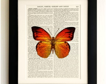 ART PRINT on old antique book page - Large Orange Butterfly, Vintage Upcycled Wall Art Print, Encyclopaedia Dictionary Page, Fab Gift!