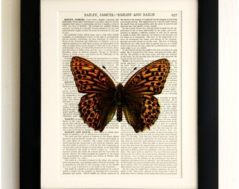 ART PRINT on old antique book page - Large Brown Butterfly, Vintage Upcycled Wall Art Print, Encyclopaedia Dictionary Page, Fab Gift!