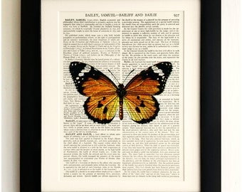 ART PRINT on old antique book page - Large Orange/Black Butterfly, Vintage Upcycled Wall Art Print, Encyclopaedia Dictionary Page, Fab Gift!