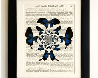 ART PRINT on old antique book page - Blue Butterfly Pattern, Vintage Upcycled Wall Art Print, Encyclopaedia Dictionary Page, Fab Gift!