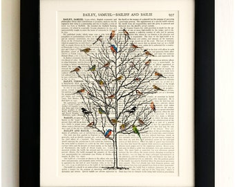 ART PRINT on old antique book page - Birds in Tall Tree, Vintage Upcycled Wall Art Print, Encyclopaedia Dictionary Page, Fab Gift!