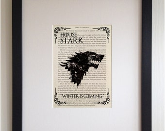 FRAMED Book Page Print - Game of Thrones, House Stark - Printed directly onto GOT Book Page, Unique Picture Gift, Black or White Frame