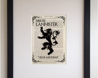 FRAMED Book Page Print - Game of Thrones, House Lannister - Printed directly onto GOT Book Page, Unique Picture Gift, Black or White Frame