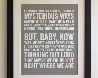 FRAMED Lyrics Print - Ed Sheeran, Thinking Out Loud - 20 Colours options, Black/White Frame, Wedding, Anniversary, Valentines, Fab Picture